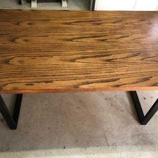 オークの天然木突板ダイニングテーブル アイアン脚