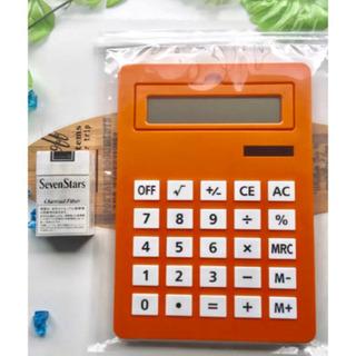 電卓(A4サイズ、ボタンと画面が大きタイプ) オレンジ