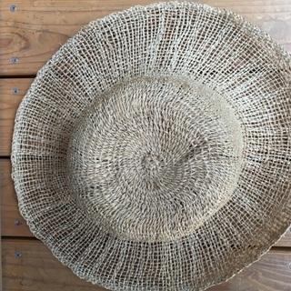麻の超涼しい帽子 ざっくり編みのつばひろ帽子