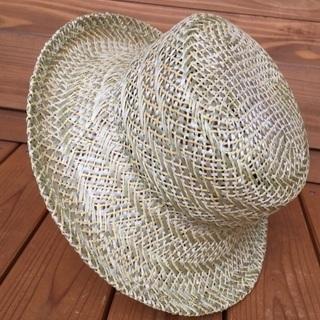 黄色と若草色の涼しい帽子 日本製 天然素材