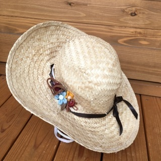 ハンドメイド作品 GUCCIリボンが可愛い涼しい帽子