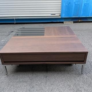 バロッカ センターテーブル ブラウン リビングテーブル 収納付き...