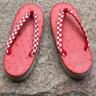 子供草履 ぞうり 紅白 市松模様18〜20cm