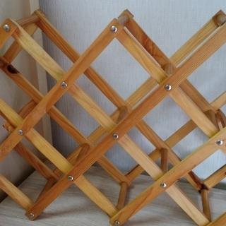 木目調ワインラック 新品未使用品 10本収納できます。
