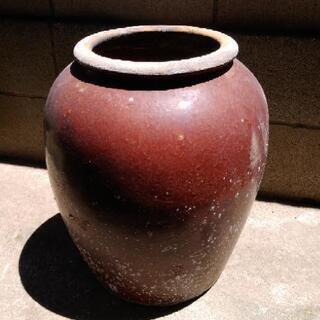 中古 昭和レア かめ壺  赤茶色
