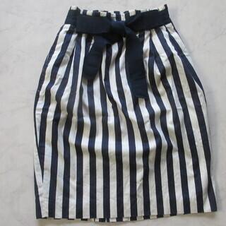 7号くらい Sサイズ 紺×白 ストライプリボンスカート
