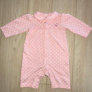 〈サイズ70〉ベビー服 ロンパース ピンク+ホワイトドット