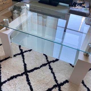 ガラス天板 白ローテーブル ※取りにきて頂ける方限定