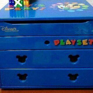 ディズニーミッキーマウス ブルーのお道具箱等の収納ケース