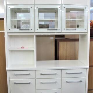 食器棚/キッチンボード 両面扉つき(対面式)収納大容量 清潔感の...