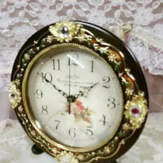 【新品未使用】可愛い 置時計 エレガント ブラウン