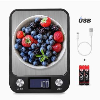 デジタルスケール キッチンスケール usb充電&乾電池両対応 タッチ式