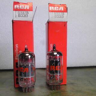 未使用、長期保存品のビンテージ真空管-RCAの12AX7A・・2本