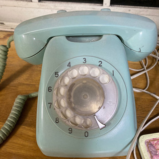 昭和レトロ 緑 電話 ダイヤル式