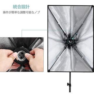 【新品未使用】ソフトボックス 写真撮影照明キット 2*LEDライ...