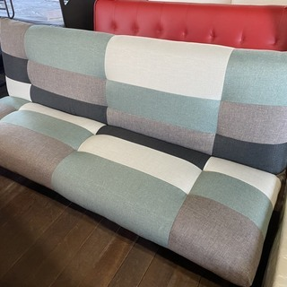 新品ソファーベッド!パッチワークソファー!幅180cm!ファブリ...