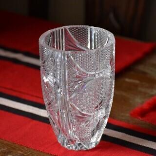 ★ボヘミア カットガラス 花器★