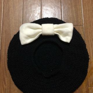 リボン付 ニットベレー帽