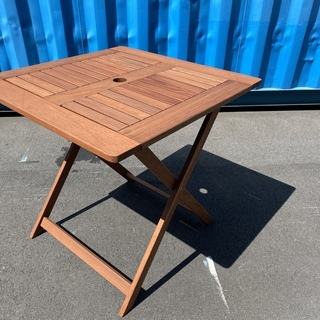 ガーデンテーブル テーブル 折り畳み式 茶 中古品