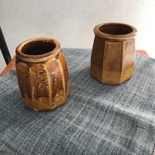 昭和の益子焼き花瓶2点