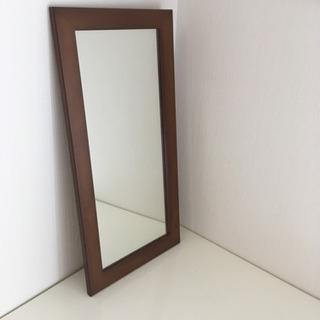 木製ミラー 縦型鏡 ミニサイズ