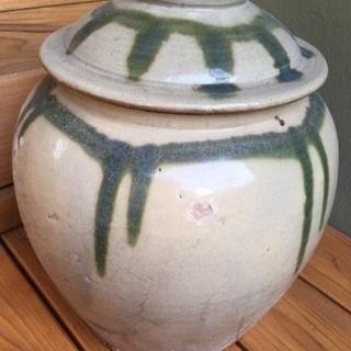 中古 古い壺 梅干し壺 蓋つき壺 ツボ スカーレット