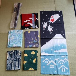 和室にオススメ 装飾用 手ぬぐい6枚+飾る棒(未使用)