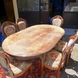 価格変更しました。レトロ感溢れる6人掛けダイニングテーブル+椅子...