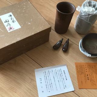 【食器】備前焼 ビアーカップ、箸置き、小皿
