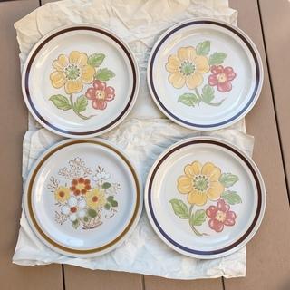 【あげます】昭和レトロ大皿絵付き4枚NationalSilver...