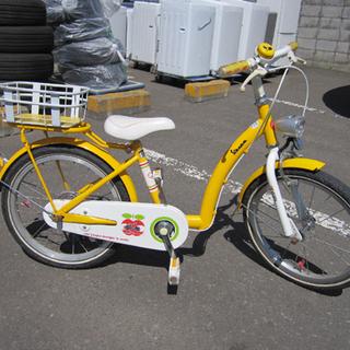 18インチ カゴ付き 切り替え無し イエロー×ホワイト 自転車 ...