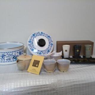 ホーロー鍋 茶器セット 長皿とグラス
