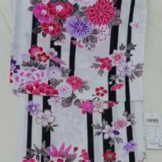 [新品] 縞と花模様の浴衣