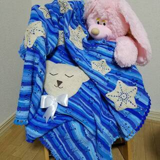 ハンドメイド 赤ちゃん用 ニット毛布 ブランケット