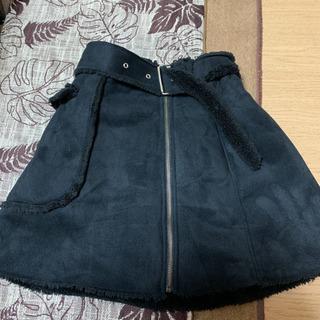 珍リバーシブルスカート シープスキン風と裏起毛 黒