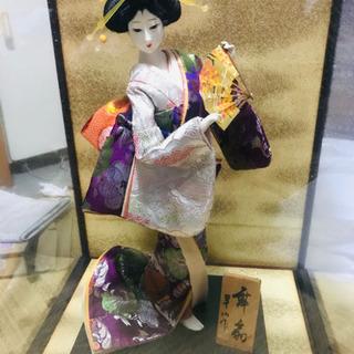 日本人形 舞扇 ガラスケース付き
