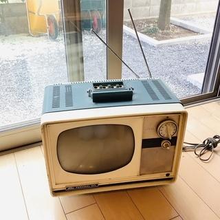 【激レア・昭和レトロ】真空管テレビ、懐かしいレトロブルー🌿★高値★