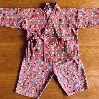 子供 作務衣 猫 キュートな全面プリント 上下セット 90cm