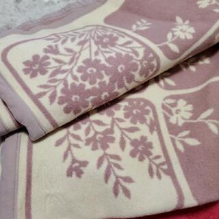 茶色系 花柄毛布