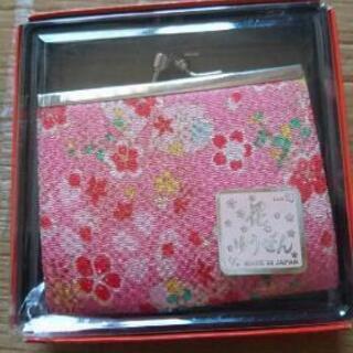 和風 がま口 ピンク花柄 小銭入れ 日本製 未使用品