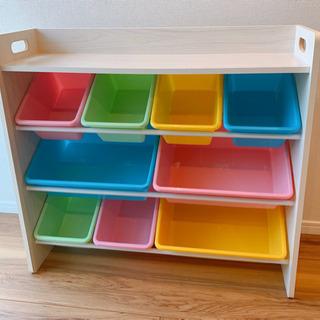 美品。おもちゃ箱 ラック おもちゃ収納 天板付キッズトイハウスラック