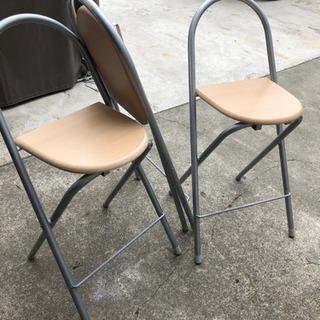 カウンターチェア 3脚 折りたたみ椅子