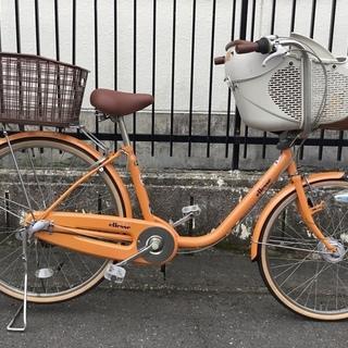 <動作品>エレッセ・26インチ・子供乗せ自転車・オレンジ …