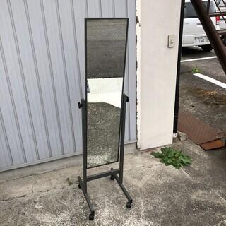 姿見 鏡 全身鏡 鉄枠 スタンドミラー キャスター付き