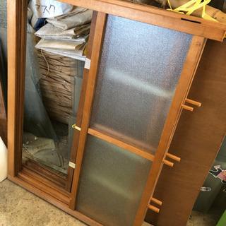 引き戸 解体した物 ガラス ディスプレイ 木枠セット