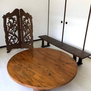 アンティーク家具(円卓、つい立て、文机) 3点セット
