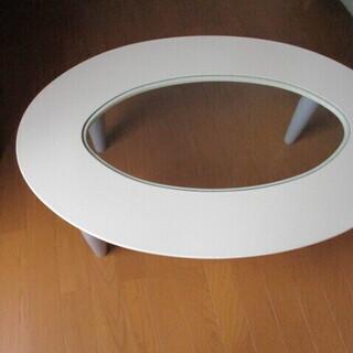 ローテーブル ガラス板 美品 ヨコ89.5㎝×60㎝ 楕円形 高さ31.5㎝の画像