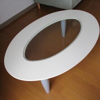 ローテーブル ガラス板 美品 ヨコ89.5㎝×60㎝ 楕円形 高さ31.5㎝ - 河北郡