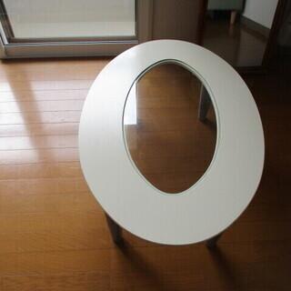 ローテーブル ガラス板 美品 ヨコ89.5㎝×60㎝ 楕円形 高さ31.5㎝ - 家具