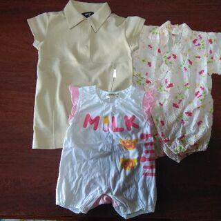 80㌢子供夏服、女の子用3枚セット(中古です)ワンピースは…